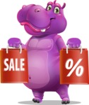 Purple Hippo Cartoon Character - Holding shopping bags