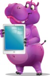 Purple Hippo Cartoon Character - Holding tablet
