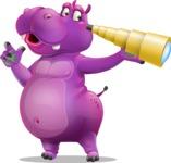 Purple Hippo Cartoon Character - Looking through telescope