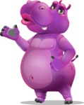 Purple Hippo Cartoon Character - Making a Duckface for a selfie