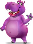 Purple Hippo Cartoon Character - Making a point