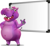 Purple Hippo Cartoon Character - Making a Presentation on a Blank white board