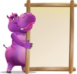 Purple Hippo Cartoon Character - Making peace sign with Big Presentation board