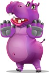 Purple Hippo Cartoon Character - Making stop gesture with both hands