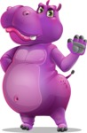 Purple Hippo Cartoon Character - Making stop with a hand