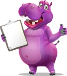 Purple Hippo Cartoon Character - Making thumbs up with notepad
