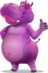 Purple Hippo Cartoon Character - Making Thumbs Up