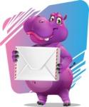 Purple Hippo Cartoon Character - Modern Modern Background