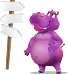 Purple Hippo Cartoon Character - on a Crossroad with sign pointing in all directions