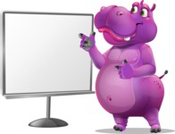 Purple Hippo Cartoon Character - Pointing on a Blank whiteboard