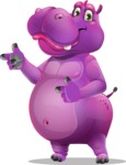 Purple Hippo Cartoon Character - Pointing with both hands