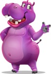 Purple Hippo Cartoon Character - Pointing with left hand