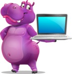 Purple Hippo Cartoon Character - Presenting on laptop