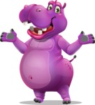 Purple Hippo Cartoon Character - Presenting with both hands