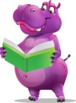 Purple Hippo Cartoon Character - Reading a book