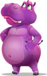 Purple Hippo Cartoon Character - Rolling Eyes