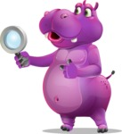 Purple Hippo Cartoon Character - Searching with magnifying glass