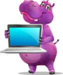 Purple Hippo Cartoon Character - Showing a laptop