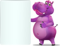 Purple Hippo Cartoon Character - Showing Big Blank banner