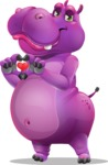 Purple Hippo Cartoon Character - Showing Love