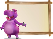 Purple Hippo Cartoon Character - Showing on Big whiteboard