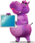 Purple Hippo Cartoon Character - Showing tablet