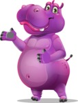 Purple Hippo Cartoon Character - Showing with both hands