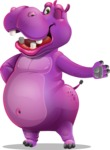 Purple Hippo Cartoon Character - Showing with left hand