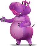 Purple Hippo Cartoon Character - Showing with right hand