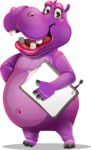 Purple Hippo Cartoon Character - Smiling and holding notepad