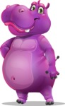 Purple Hippo Cartoon Character - Smiling
