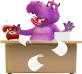 Purple Hippo Cartoon Character - Stressed out