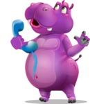 Purple Hippo Cartoon Character - Talking on phone