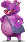 Purple Hippo Cartoon Character - Traveling