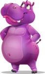 Purple Hippo Cartoon Character - Waiting with hands behind back