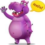 Purple Hippo Cartoon Character - Waving for Hello with a hand