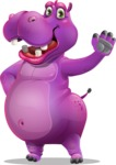Purple Hippo Cartoon Character - Waving