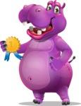 Purple Hippo Cartoon Character - Winning prize