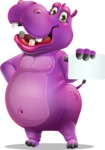 Purple Hippo Cartoon Character - with a Blank Business card