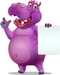 Purple Hippo Cartoon Character - with a Blank paper