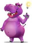 Purple Hippo Cartoon Character - with a Light bulb