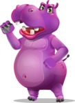 Purple Hippo Cartoon Character - with Angry face