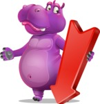 Purple Hippo Cartoon Character - with Arrow going Down