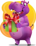 Purple Hippo Cartoon Character - With Birthday Present and Colorful Background
