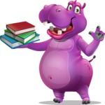 Purple Hippo Cartoon Character - with Books