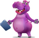 Purple Hippo Cartoon Character - with Briefcase
