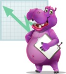 Purple Hippo Cartoon Character - With Business Graph Background