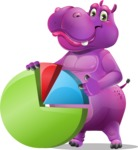 Purple Hippo Cartoon Character - with Business graph