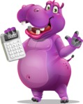 Purple Hippo Cartoon Character - with Calculator