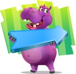 Purple Hippo Cartoon Character - With Childish Background